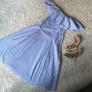 H&M Off the Shoulder Blue and White Striped Dress